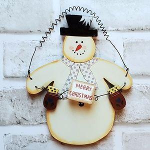 Wood Merry Christmas Snowman Wall Window Hanging